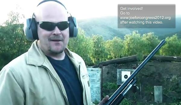 """Joe The Plumber"" with his shotgun in his web video. (Photo: YouTube)"