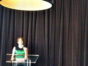 Tina Fey speaking at L'Oreal's Women in Digital awards ceremony.
