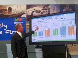 Mayor Bloomberg explaining test score improvement.