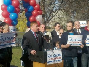Dan Halloran announcing for Congress in Bowne Park.