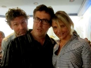 Dan Colen, Mark Flood and Cameron Diaz at the opening for Mr. Flood's 'The Hateful Years,' 2012. (Courtesy Mary Barone)
