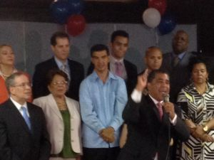 State Senator Adriano Espaillat announcing his intention to run for re-election.