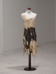 This dress made by artist Laura Ginn consists of 300 rat pelts, skinned by the artist herself. (Photo courtesy of Allegra LaViola Gallery)