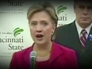 Footage of Hillary Clinton in the Romney campaign's new ad. (Photo: YouTube)