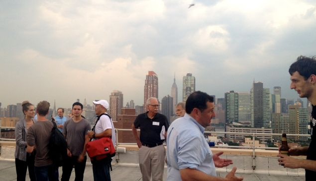 Guests Mingle On a Long Island City Rooftop Before Demos Begin
