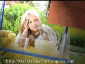A distraught young entrepreneur in Mark Oxner's campaign ad. (Photo: YouTube)