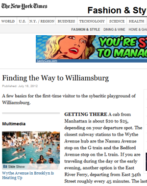 In Which The <em>New York Times</em> Explains How to Get to Williamsburg to Manhattanites, and Uses a Hashtag In a Sentence Unironically