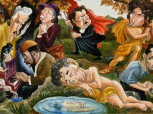 Edward Sorel's mural. (Courtesy NY Post)