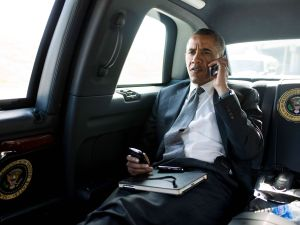President Obama working the phones. (Photo: Getty)