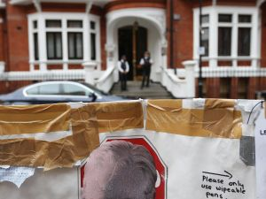 Outside the Ecuadorian embassy, where Julian Assange may or may not have flushed the toilet (Getty Images)