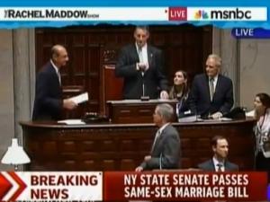 Same Sex Marriage Legislation Passes the New York State Senate. (Photo: MSNBC/YouTube)