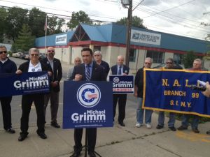 Michael Grimm being endorsed by the painter's union.