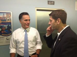Mitt Romney and Paul Ryan moments before today's speech. (Photo: Garrett Jackson/Twitter)