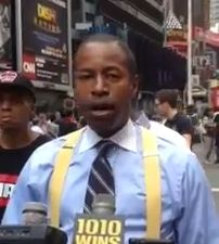Malcolm Smith standing in Times Square for his denunciation of Lil' Wayne. (Photo: Hunter Walker)