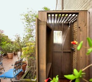 Mr. Browne's outdoor shower. (New York Times).