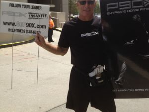 Ron Dubsky preaching the gospel of P90X outside the RNC.