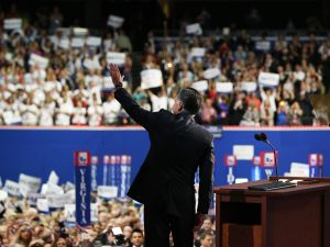 Mitt Romney on stage at the RNC. (Photo: Getty)