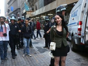 Protesters clash with police today during the one year anniversary of OWS.