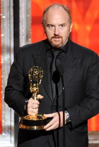 Louis C.K. accepting one of his two new Emmys last night (Getty Images)