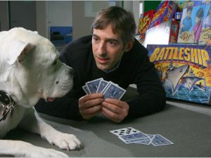 Social web billionaires have resorted to playing poker with dogs for cash. (Photo: Facebook Poker Chip News)