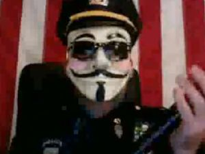 A still from the Occupy Wall Street raid video released by someone claiming to be affiliated with Anonymous. (Photo: YouTube)