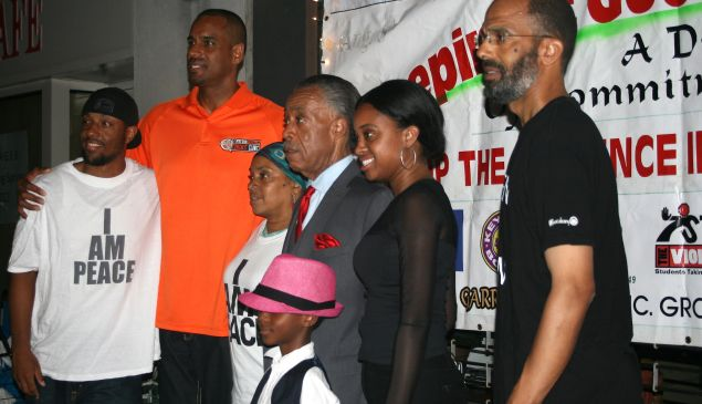 Some Occupy the Corners supporters with Jayson Williams, Al Sharpton and Tamika Mallory, NAN's national executive director.