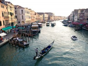 LONDON, ENGLAND - SEPTEMBER 09: General View from the Ponte De Rialto over the Grand Canal on September 9, 2011 in Venice, Italy.