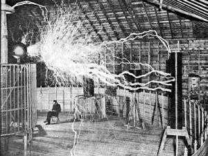 A publicity photo for Tesla's Magnifying Transmitter. F- yeah, science!