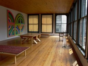 The fourth floor of 101 Spring, with a work by Frank Stella. (Courtesy Rainer Judd-Judd Foundation Archives/© Judd Foundation)