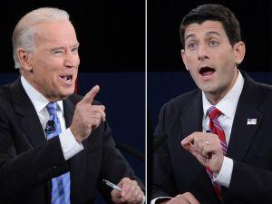 Joe Biden and Paul Ryan go head-to-head on stage. (Photo: Getty)