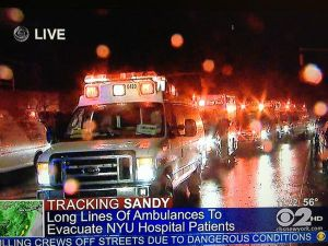 The ambulances mass for relocation. (Photo: Dave Itzkoff, via Twitter)