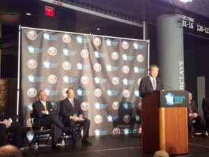 Islanders Owner Charles Wang speaking in Barclay's Center.