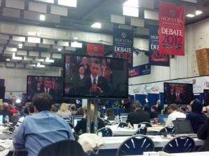 The scene from Politicker's station on the media filing room floor.