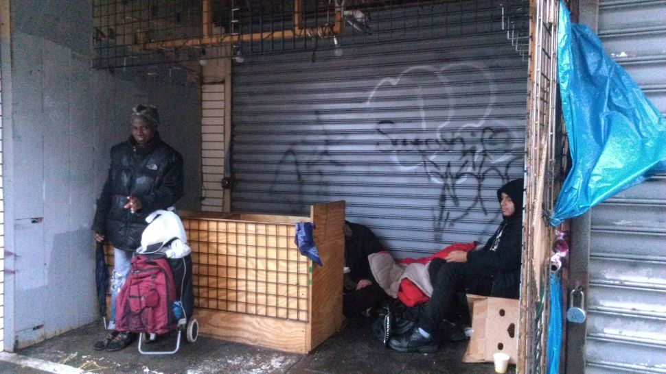 Homeless Still on the Streets of New York as Sandy Hits Land