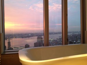 The bathtub in the unoccupied New York by Gehry penthouse. No water rippling in this store.