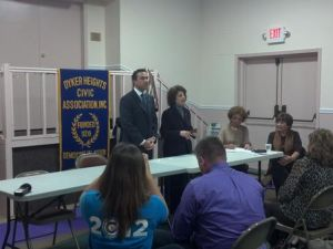 Congressman Grimm standing alone at the Dyker Heights debate.