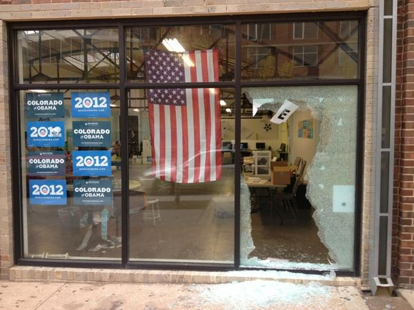 Looks Like Someone Shot a Window at Obama's Denver Campaign Offices