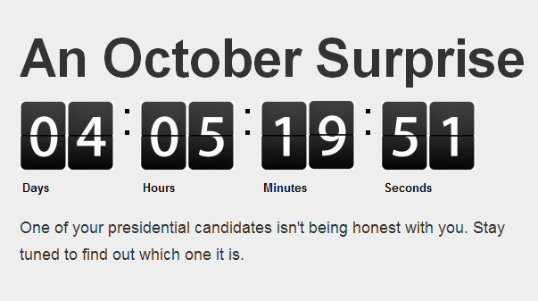 """A screengrab from the """"October Surprise"""" site. (Photo: OctSurprise.com)"""