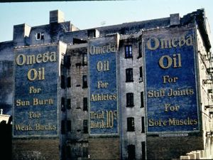 The Omega Oil sign, on Frederick Douglas and 145th, that started it all. (Courtesy Frank Jump)
