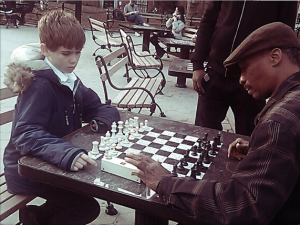 Jamie playing chess
