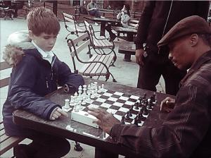 Jamie playing chess