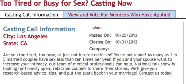 New TV Show Casting for the Sexually Sluggish