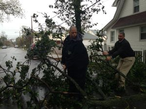 Councilmen Leroy Comrie and Ruben Wills clearing trees. (Photo: Facebook)