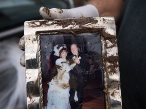 A wedding photo salvaged from a flood-damaged home in Staten Island. (Getty Images)