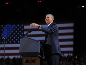 President Obama on stage in McCormick Place. (Photo: Getty)