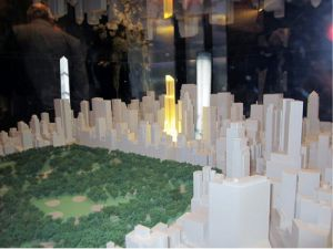 A hypothetical skyline, with 225 West 57th at right, One57 middle, 432 Park at left. (Curbed/NYO)