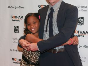 Quvenzhané Wallis gives her director Behn Zeitlin a big hug.