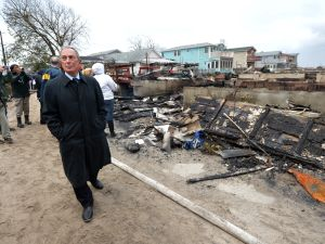 Mayor Bloomberg touring the damage in Queens.