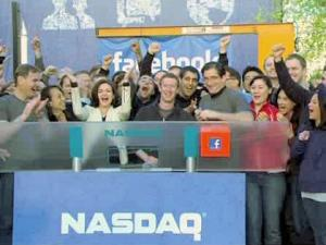 Mark Zuckerberg ringing Nasdaq's opening bell on the day of Facebook's IPO. (Photo: CBS)