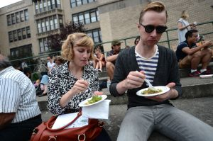 Dining al fresco at the recent Le Fooding festival in Brooklyn. (EMMANUEL DUNAND/AFP/GettyImages)